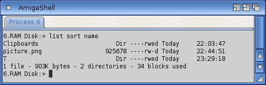 The list command shows a file of 925678 bytes and two directories