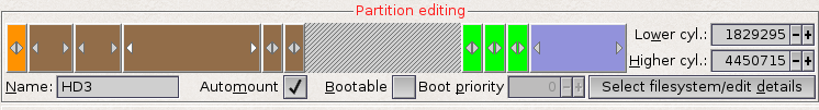 Small part of Media Toolbox showing different partitions on the harddisk
